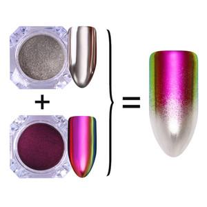 2 Boîtes 2019 Chameleon Silver Mirror Glitter Manucure Nail Art Chrome Pigment Poudre Glitter Nail Art UV Gel Gel