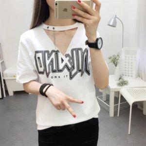 Pendurado carta V- solta versátil de manga curta de moda Hanging pescoço T-shirt V-neck carta solta versátil de mangas curtas T-shirt top fas