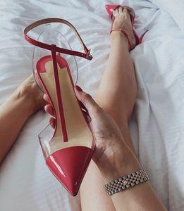 Marcas populares parte inferior vermelha de Calçados Femininos de Patentes Nosy Couro PVC Sexy Lady Slingback bombas dedo do pé Pointed estilete Salto Gladiator Sandals Mujer