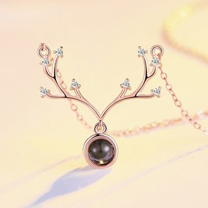925 Pure Silver Girlfriend Birthday Gift Antler Necklace Girl