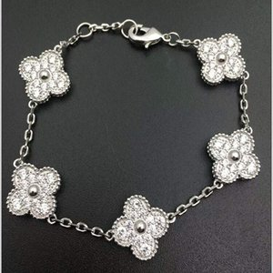 yonca bilezik moda romantik kadınlar fourleaf kaplama Moda platin fiveleaf mücevher toptan microinlaid