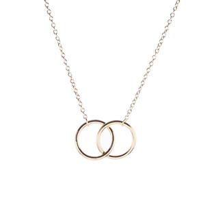 Двойной Круг Простое Геометрическое Ожерелье Золото Серебро Двойное Кольцо Сплав Кулон Из Нержавеющей Стали Дамы Ювелирный Подарок