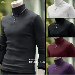 Wholesale-New Arrival Solid Sweater Men Casual Knitted Sweaters Mens Turtleneck Long Sleeve Pullovers Blusa Masculina M-XXXL