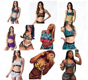 femmes Designer Beachwear 2 pièces bikini ensemble Gilet Débardeur Bras + Shorts Boxers Caleçons maillot de bain Combishort de plage Costumes de bain Tankinis D61704