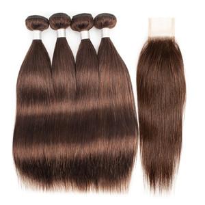 # 4 castanho chocolate brasileiro cabelo reto Weave Pacotes com fecho de 3/4 pacotes com 2x6 extensões Lace Encerramento Remy Cabelo Humano