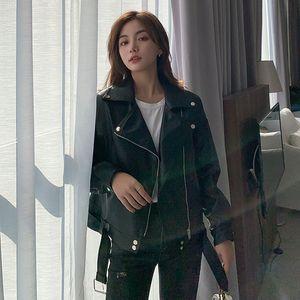 Leather coat women 2020 spring new Korean Short Pu loose BF wind thin locomotive leather jacket524