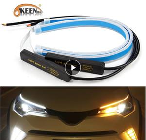 Okeen 2x Ultraine Arabalar DRL LED Gündüz Çalışan Işıklar Beyaz Dönüş Sinyali Sarı Kılavuz Şerit Far Montaj Drop Shipping