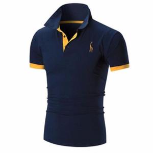 Mode-Mens T-Shirt Marken 2019 Männliche Kurzarm Casual Slim Solid Color Stickerei Deer Muster T-Shirt Männer XXXXL