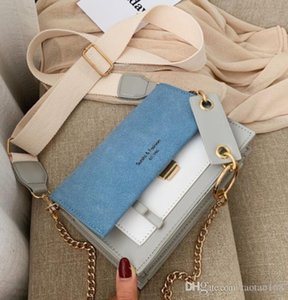 Scrub Leather Contrast Color Crossbody Bags For Women Chain Messenger Shoulder Bag Ladies Purses and Handbags Cross Body
