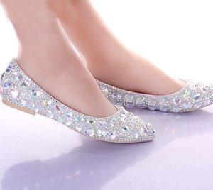 Argent Cristal Talons Plats Chaussures De Mariage Bout Pointu Chaussures De Mariée Robe De Danse Performance Spectacle Femmes Chaussures Habillées