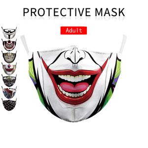 Designer Gesichtsmaske Art und Weise Baumwolle drollig wiederverwendbare Gesichtsmaske Schädel-Piraten-Digital-Sport-Halloween Cosplay Gesichtsmasken Partei Schutzmaske