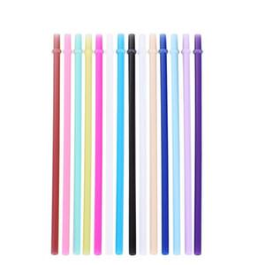 Palhinha de silicone Stripes Straw 14color Silicone Eco palhas reutilizável for20OZ canecas Smoothie flexível otário 50pcs T1I2030-1