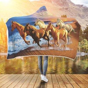 WHQ moderne capuche Blanket hiver chaud Throw cerf cheval imprimé souple court Fluff Wearable Blanket chaud Joyous Cobija Cobertor