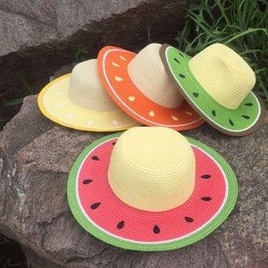 Panamá Playa niñas y los niños del casquillo de modelado sandía marca el sombrero de paja de los niños del verano al aire libre sombrero de visera grande paja del borde de las tapas
