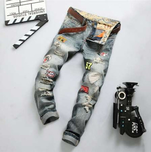 New Men's ripped patches retro jeans funky straight leg jeans men fashion washed distressed jeans Big size Hot Sale