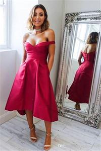 Vestidos de baile curtos sexy Hi-low fora do ombro Vestidos de baile curtos simples 2018 Vestidos de dama de honra qua convidado