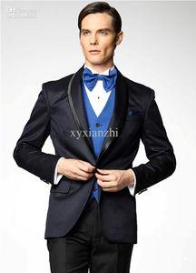 groom wedding suit slim fit tuxedo dark blue dress fashion 2020 custom made suits high quality