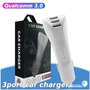 QC3. 0 автомобильное зарядное устройство 3 порта 6.1 a тройной USB быстрый зарядный адаптер портативный путешествия быстрое зарядное устройство для Samsung Galaxy S20 S7 Huawei с пакетом