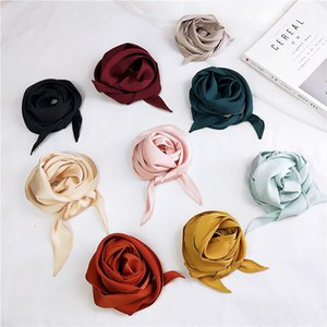 Big girls Ladies Fashion Square Scarf Head Neck Silk Feel Elegant Small Skinny Satin Hair Tie Band pashmina women solid color bandanan A1809