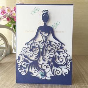 Полые кружева черный Прохладный девушки Изысканный свадебные приглашения карты Dark Girl Стиль Birthday Party Пригласительные Расходные материалы