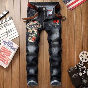 Мужские джинсы Мужские Straight Хлопок рваные Проблемные 3d Dragon вышивка черный Denim брюки плюс размер 29-38 Homme джинсы