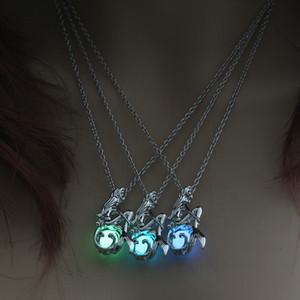 Colar Bohemia brilho luminoso In The Dark Lotus fluorescente sereia Pingente For Women Jóias corrente de prata