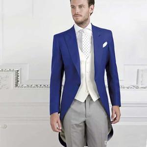 Adaptado a la medida Royal Royal Tailcoat Groom Wear para el banquete de boda chaqueta larga El mejor hombre Blazer se adapta a la medida de una sola pieza