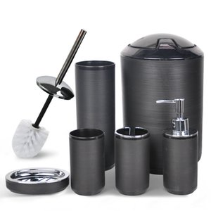 Bathroom Accessories Set 6Piece Bath Ensemble Decorative Countertop Black Thread