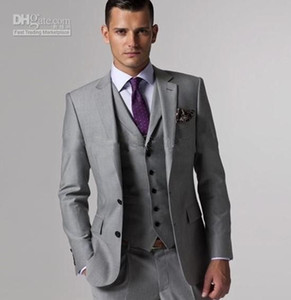 New Customize Slim Fit Groom Tuxedos Groomsmen Light Grey Side Vent Wedding Best Man Suit Men's Suits (Jacket+Pants+Vest+Tie) XZ1