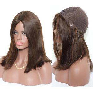 Pelucas Kosher 12A Color marrón claro # 4 Finest Malasia Virgen Human Hair Sedky Recta 4x4 Base de seda Peluca judía Fast Express Entrega