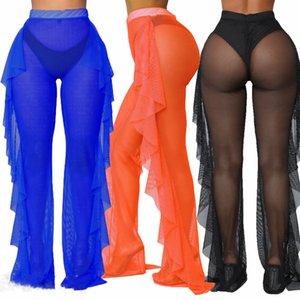 2019 Sexy Women Beach Cover Up See Through Ruffle Pants Mesh Sheer Long Trousers Bikini Cover Up Bottoms Swimsuit Swimwear T200530
