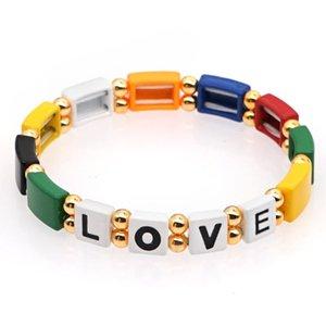 Shinus Bracelet Women Letter Name Bracelets Enamel Tile Beads Jewelry Bohemian Pulseras 2020 Femme Friendship Jewellry