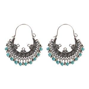 Dangle Vintage Flower alliage Boucles d'oreilles femmes d'été Gypsy Bohème Bleu Perles Tassel Boucles d'oreilles Bijoux Fashion Oorbellen