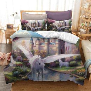 BEST.WENSD Doppelbettbezug Unicorn Bett gesetzt 3pcs Home Textile Unicorn Bett Bettdecke beding Set 3D Cartoon Bettbezug