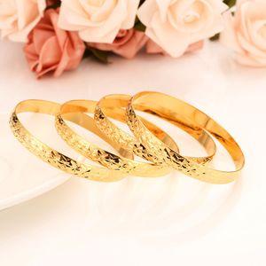 أزياء دبي رايس الطابع المجوهرات الإسورة 18 K الأصفر الجميلة الصلبة الذهب معبأ عناصر دبي سوار المرأة افريقيا العربية