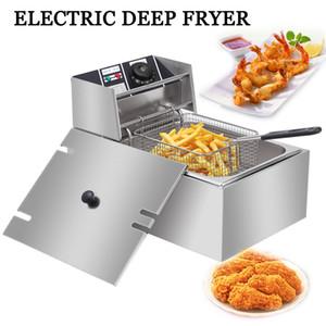 2500W électrique Friteuse Pour la maison Countertop Commerce Restaurant Frites 280X450X300Mm TB Manuel française Fry Cutters