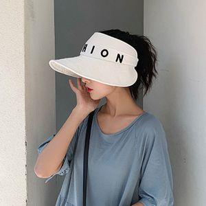 4pcs Lot Cotton Letter Fashion Sun Hats Summer Sunscreen Unisex Protection Caps Velcro Closure Visors Adjustable Folding Hat Accessories