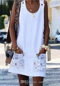 Nice Plus Size Women Holiday Sleeveless Loose Button Pocket Ladies Summer Beach Mini Colours Sun Dress baby168