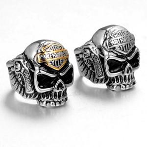 Joyería de moda retro de los hombres de acero inoxidable 316L del cráneo de la motocicleta Harley partido del punk rock del tamaño del anillo Regalo 7-13
