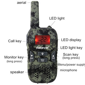 Walkie Talkie sem fio Civil brinquedo rádio crianças talkback handheld Retevis RT33 GMRS camuflagem / PMR UHF Acessórios LED Telecomunicações