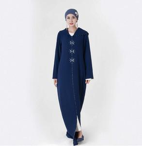 Exklusiv für Marokko mit Kapuze handgemachter bunter Perlen Handgenäht Strass Damen Kleid