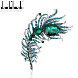 Wholesale- 6 Colors Optional Metal Feather Brooch Pin Green Blue Crystal Rhinestone Teardrop Women Fashion Jewelry Accessory Gift 2016