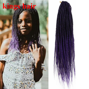 18 Inch ombre purple brown senegalese twist synthetic crochet braiding hair for black women 30strands pack