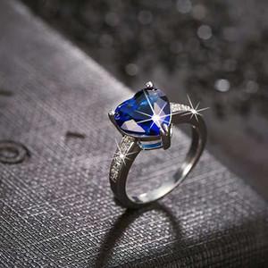 Hot Sale Уникальные моды Blue Heart кольцо Позолоченные Циркон Engagement / Weddding кольца изящных ювелирных изделий