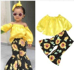 2020 newkids abiti firmati ragazze attrezzature dei bambini senza spalline Tops spalla + girasole Flare pants 2pcs / set Insiemi Primavera Autunno Abbigliamento bambino