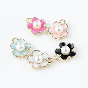 Bulk 100pcs lot very beautiful a pearl in a flower charms pendant for craft making 11*14mm