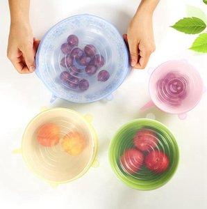 سيليكون تمدد شفط وعاء اغطية 6PCS / مجموعة مطبخ تغطية عموم السلطانية سدادة غطاء الفواكه المعمرة الخضروات التخزين اغطية OOA8064