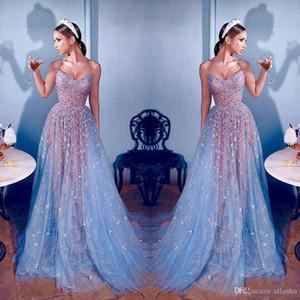2020 Sexy Elie Saab Tulle Sequins Evening vestidos de renda Dubai celebridades querido Beads Illusion Longo Prom Vestidos