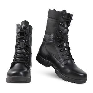 La venta caliente-Pany militares al aire libre botas de combate de los hombres respirables del desierto de la motocicleta tácticos botas de cuero importado y suela de goma