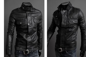 Winter Jackets For Men Outdoor PU Brown Black Fall Winter Spring long Motorcycle Shell leather sleeve denim Mens Jackets Outerwear